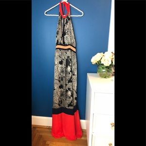 THML Dresses - THML Maxi Dress Halter Maxi Red Black and Tan L